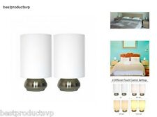 Touch Sensor Table Lamp For Bedroom Night Modern Metal Pair Set Of 2 Small Lamps
