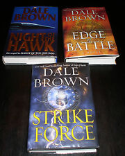 3 SIGNED Dale Brown NIGHT OF THE HAWK,STRIKE FORCE,EDGE OF BATTLE ~2 ARE 1ST/1ST