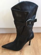 Ladies Black Leather DIANA FERRARI Boots AUS Size 6.5 EU 37.5 High Heel Pointy