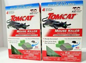 Tomcat Mouse Mice Rat Killer 8 Blocks Bait Poison Rodent 4 Station Trap Control