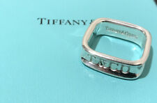 Tiffany & Co 1837 Sterling Silver Square Wide Band Ring Size 6.75