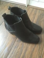 Ladies Faux Leather Black Ankle Boots Size 6