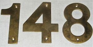 """Vintage 4"""" Solid Cast Brass House Door Numbers 1 4 8 Architectural Salvage"""