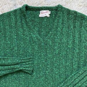 1960s Green Wool Suede Sweater Jumper Men Medium Hipster Rockabilly