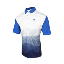 Island Green Mens Abstract Golf Polo (Moisture Wicking - Blue/White)