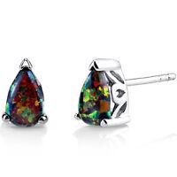 Oravo 1.00 carat Created Black Opal Tear Drop Stud Earrings Sterling Silver