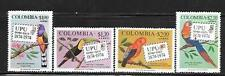 COLOMBIA 1974 TROPICAL BIRDS SC # C611-C614 MNH