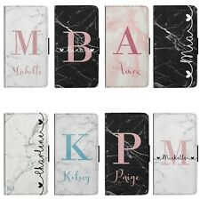 Personalised Name Initials Marble Flip Wallet Faux Leather Phone Case Cover
