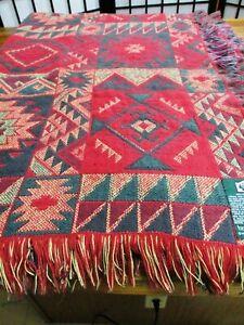 Goodwin Weavers Southwestern Throw Blanket 50X72 Red Green Tan FREE SHIP