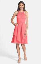 Eliza J Embellished Neck Layered Chiffon Fit & Flare Dress 10 Pink Coral