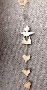Hanging Christmas Angel - wood, hearts, rustic Bnwt