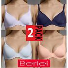 2 Pack BERLEI Barely There Contour Underwire Bras Bra Ladies Womens Support Size