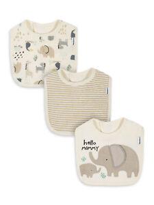 Gerber Baby Neutral 3 Pack Organic Bibs NEW Adorable Safari Elephant Unisex