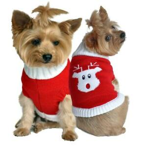 Doggie Design Combed Cotton Cable Knit Dog Sweater Rudolph XXS-3XL