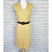 Vintage 70s Country Miss Caramel Tan Button Side Belted Shift Dress 1970s Size 8