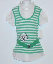 Beautees Girls 2 fer Striped Blouse & Belt Island Green Small (S)  NWT
