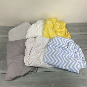 Baby Crib Toddler Bed Sheet Set Lot Of 6 Fitted Sheets Gray Blue Yellow Stars