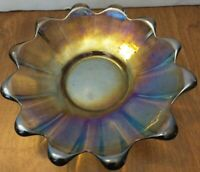 Carnival Glass Iridescent Plate- Floral Pattern vintage old nice piece