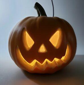 Foam Light Up Pumpkin Jack O Lantern Halloween Decor 8 Inches Tall