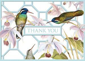 Hummingbird Trellis Chatsworth Thank you Notelets Caspari 8 pack + env 6 x 4 in