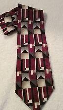 Como Collezione Men's Italian Silk Multi Color Tie Necktie Made In USA Geometric