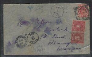 BECHUANALAND COVER (P1803B)  1913 TRANSVAAL KE 1D FROM KURUMAN SHORT PAID TO USA