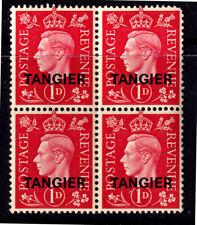 "UK 1937 KGVI 1d Carmine Overprinted ""TANGIER"" In Black - Block Of Four - MUH"