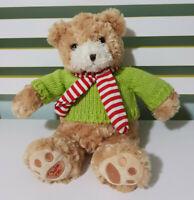 MYER BEAR MYER TEDDY BEAR CHARLIE CHRISTMAS BEAR  GREEN JUMPER RED SCARF 30CM!