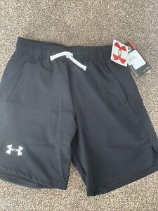 Under Armour Boys Black Shorts Size M Tie Waist Heat Gear NEW