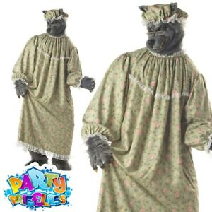 Adult Mens Wolf Granny Costume Red Riding Hood Nursery Rhyme Fancy Dress Outfit