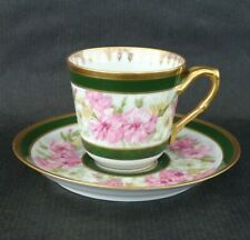 New ListingJ. Pouyat Jp Limoges Demitasse Cup & Saucer Pink, Yellow & White Carnations Gold