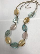 Gorgeous Precious Stone Necklace Pink Turquoise Tied With Suede