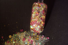 glitter mix acrylic gel nail art           PINK PLATINUM  gold and pink mix