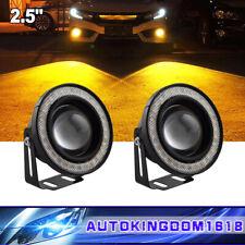 "2x Car 2.5"" 64mm Yellow Angel Eye COB Halo Ring LED DRL Len Fog Driving Light"