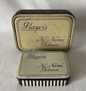 Pair Vintage Empty PLAYERS NO NAME TOBACCO Tins 1oz and 2oz Sizes