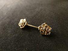 Brust Piercing 24 Karat Vergoldet Rose Rosenbätter Edelstahl Gold Nippelpiercing
