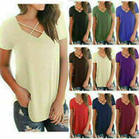 Summer Fashion Women V Neck Short Sleeve Loose Casual T-shirt Tops Shirt Blouse