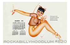 Pin Up Girl Poster 11x17 George Petty girl calendar November 1956 Black hair