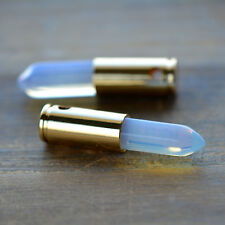Bullet Point Opal Agate Opaline Pendant Bead 24K Gold Plated Brass Shell Casing