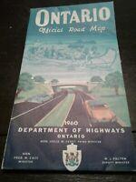 1960 OFFICIAL ONTARIO ROAD MAP DEPT OF HIGHWAYS VTG