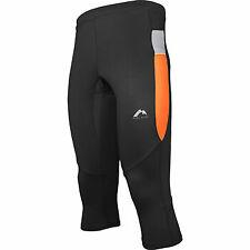 More Mile More Tech Mens Running Capri Black Orange 3/4 Length Leggings Training