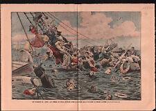 Naufrage Paquebot tragic shipwreck of the steam Sirio Italy 1906 ILLUSTRATION