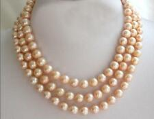 "pearl necklace 17-19"" 18K Gp Clasp 3 rows 8-9mm south sea pink natural"