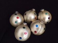 Lot 5 Vintage West Germany Glass Christmas Ornaments SEQUINS wire wrapped BALL
