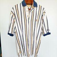 Vtg Tommy Hilfiger Mens 90s Striped Golf Polo Shirt Tan Blue Beige White Large