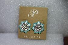 "& White Gem Studs .75"" (Pe391) Plunder Earrings (new) Laverne-Light Purple Blue"