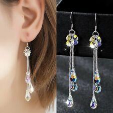 Fashion Long Tassel Chain Earrings Women Crystal Teardrop Drop Dangle Jewelry