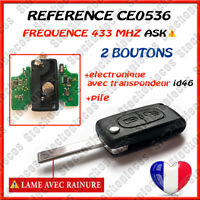 CLE VIERGE CE0536 ID46 PEUGEOT 207 307 308 SW 2 BOUTONS LAME AVEC RAINURE / ASK