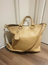 Prada Tote Bag Messenger Real Leather Beige Strap