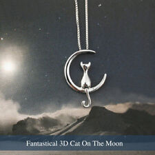 925 Sterling Silver Plated Charm Jewelry Cat Kitty Moon Luna Pendant Necklace